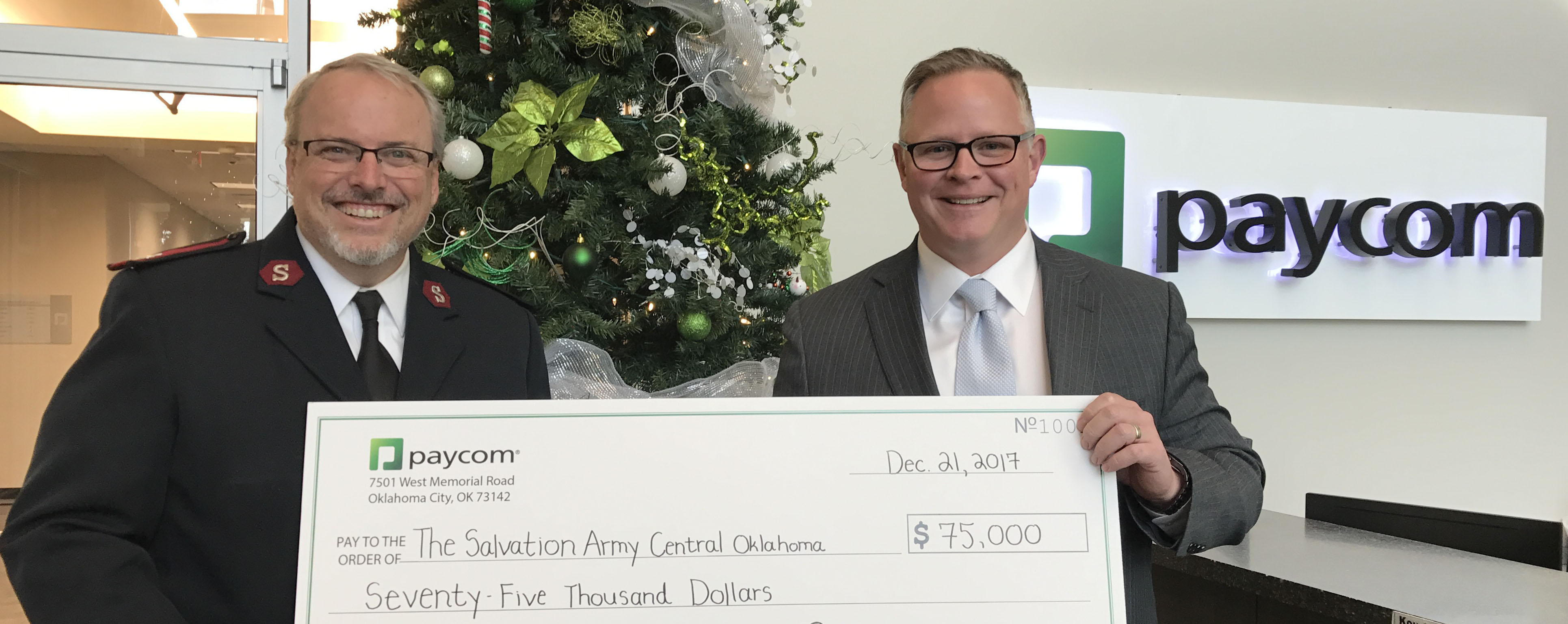 Paycom and its Employees Give $75,000 to The Salvation Army