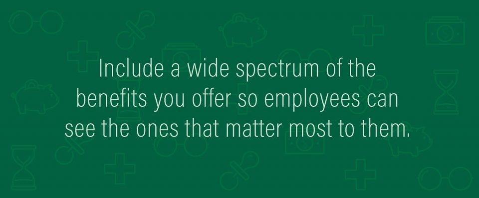 Graphic: Include a wide spectrum of the benefits you offer so employees can see the ones that matter most to them