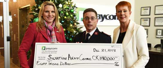 Paycom and Its Employees Give $80,000 to The Salvation Army